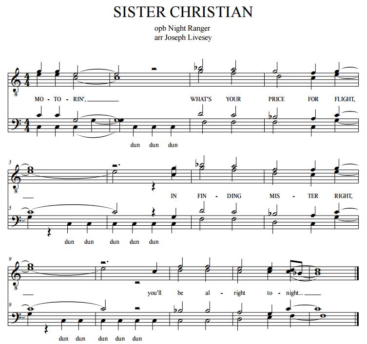 All Music Chords sheet music to print : Barbershop Tags - Sister Christian